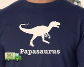 PAPASAURUS T-Shirt Personalized Father's Day Gift Many Colors S-XL-4XL Dinosaur Dad Papa