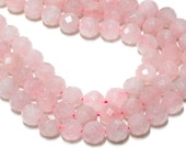 "GU-5464-5 - Rose Quartz Faceted Rounds - 12mm - Gemstone Beads - 16"" Full Strand"