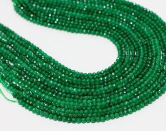 "GU-2778 - Green Emerald Jade Faceted Round Beads - 4mm,6mm,8mm,10mm,12mm,14mm,16mm,18mm,20mm - Gemstone Beads - 16"" Full Strand"