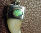 Genuine Fire Opal , Claw , .925 Sterling Pendant