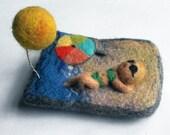 "Needle felted brooch ""summer time"" - handmade good mood brooch, cute gift under 25"