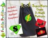 Superhero Cape Pattern, Superhero Costume Pattern. Kid's Cape Pattern, Cape Pattern, Halloween. Mask, Headband.  Iron-on Appliques