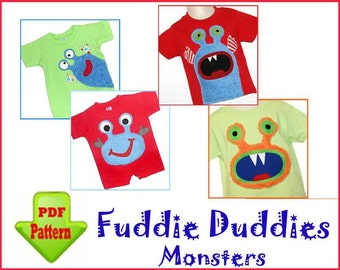 Monster Iron-on Applique Patterns. 4 Designs. PDF DOWNLOAD. Boy's Sewing Pattern. Super Cute on Toddlers Tees, Pants, Shorts, Onsies.