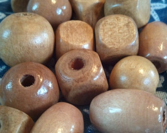 Light Wooden Bead Mix, Round Beads, Wooden, Painted, Square Beads