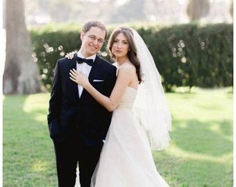 "2 tier blusher veil fingertip veil with blusher raw edge veil wedding veil 2 layer blusher veil simple veil ""Erin"""