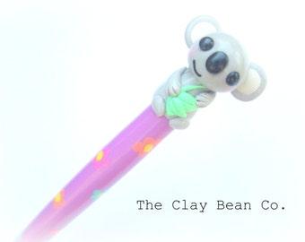 Cute Koala Crochet Hook- Handmade grip Susan Bates Size F