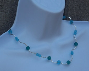 Necklace Teal Beaded Blue Frosted Glass Beads Silver Tubes Pretty Jewelry Fashion Casual Wedding Something Blue Beach Jewelry