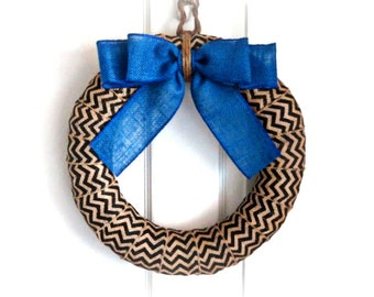 Support Police Officers Burlap Wreath - Thin Blue Line Wreath - Law Enforcement Wreath - Black and Blue Wreath