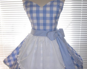 Retro French Maid Apron Costume Apron Blue and White Gingham Jumbo Checks