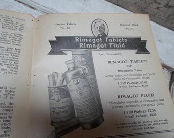 Quack Medicine, Vintage Ephemera, Advertising, Medical Book, Apothecary, Pharmacy, Antique Paper, Advertisement, Science, 1930s, Authentic