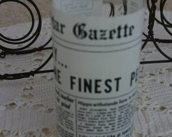 Star Gazette Drinking Glass Vintage Newspaper Design Water or Iced Tea Glass