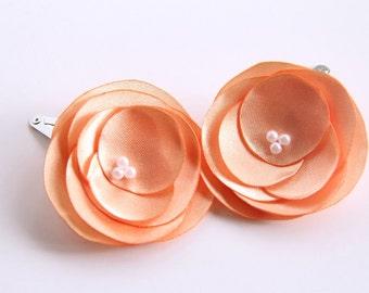 Peach Hair Pins, Peach Satin Wedding Flowers, Set of 2