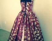 Wine and Gold Renaissance dress over gown made to fit you! Black, turquoise, navy and gold also available