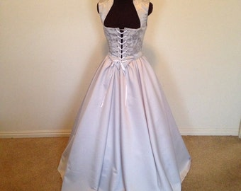 Silver on Silver Wedding Fantasy cosplay Renaissance Bodice and Skirt Dress   custom available!!!