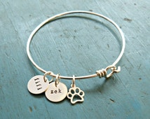 Personalized Pet Dog Lovers Bangle wife gift jewelry gift for her Paw Jewelry Pet Lover Gift Cat Jewelry Custom Pet Jewelry teen gift