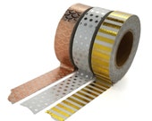 Gold, Copper and Silver Foil Tape Set, Three Foil Washi Tapes, Rose Gold, Gold, Silver