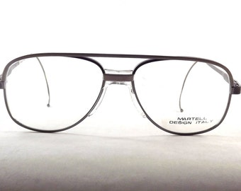 Industrial Metal Mens, Vintage Silver Aviator Eyeglasses with a fixed bridge & wrap around temple arms