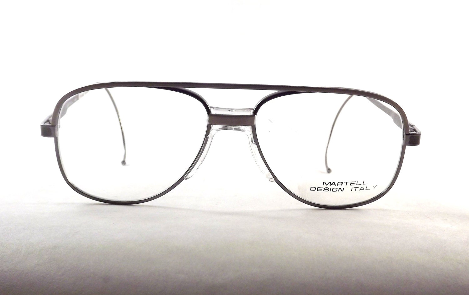 industrial metal mens vintage silver aviator eyeglasses with