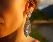 SALE Jaqueline - Crystal Clear Swarovski Crystals Statement Earrings, Wedding Earrings - Ready to Ship