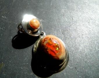 Pendant, sterling silver, fire opal, Opal, 2 stones, orange