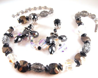 Crystal Beaded Necklace Signed W. Germany Vendome Earrings To Match