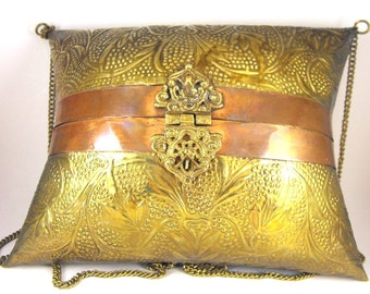 Indian Brass Pillow Purse Copper Trim  Stamped Vine and Leaf Motif Ornate Hinges