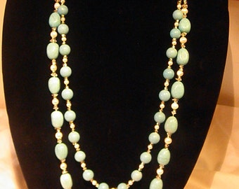 Turquoise and Freshwater Pearl two strand necklace