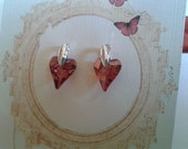 Swarovski Crystal Heart, Magma Red Earring with Silver Post Jewelry