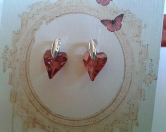 Wedding, Bridesmaid Earrings, Brithstone, Holiday Earrings, Swarovski Crystal Heart, Magma Red Earring with Silver Post Jewelry