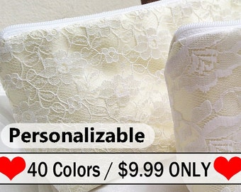 Ivory lace vintage inspired bridesmaid gift, bridal shower favor, ivory purse, cream ivory wedding bag, bridesmaid wristlet , bridal purse