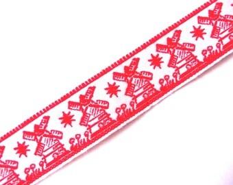 Vintage Dutch Windmill Braid  Woven Cotton Ribbon Braid Trim