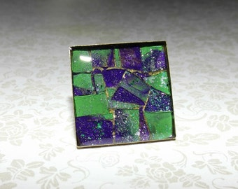 Lime and Grape Shattered Mosaic Ring