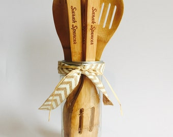 Attractive Personalized Kitchen Gift, Personalized Wedding Utensils, Personalized Name Kitchen  Set, Engraved Spoons,