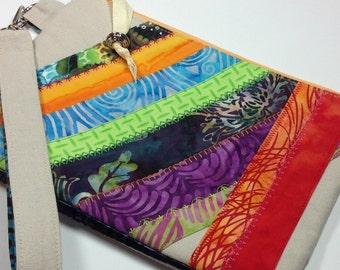 Zipper Wristlet Clutch, Small Linen Wristlet Purse, Cell Phone iPhone Wallet, Makeup Bag, Bright Handbag, multicolored