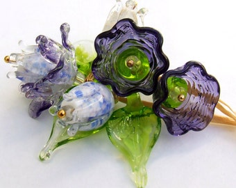 Lampwork Glass Flower Beads for Jewelry Making, A Romantic Bouquet, Set of 9, Purple Flowers and dark Green Leaves, Made to Order !