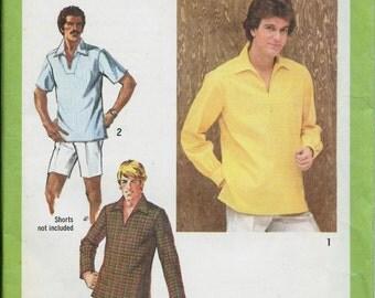 VTG 70's Men's Pullover Top Pattern, Tunic Simplicity 9093, Sizes 38 & 42 UNCUT