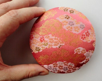"Japanese kimono fabric brooch, 3,3"" inches, handmade Japanese fabric pin back, Kawaii accessory, japanese brocade fabric pin,"