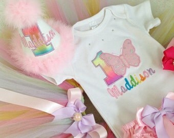 Butterfly Birthday outfit-include Personalised Top and Tutu . Free matching headband