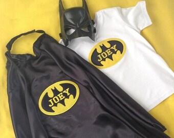 Personalisd Batman Tee/Onesie and Cape set