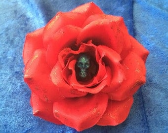 Red Rose Hair Flower with Blue Glitter Skull Rockabilly Pinup Psychobilly Retro Rockabella