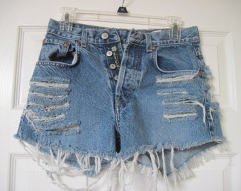 """Womens Lucky's Brand denim cut off shorts W 28 button fly destroyed/grunge/frayed/ripped size 28"""" waist Free Shipping U S A"""