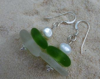 Drilled and stacked lime green and white sea glass earrings with pearls