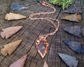 ELECTROFORMED pure Copper Natural Flynt Arrowhead - any length chain