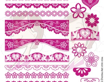 Border Clipart Fuschia Pink Mexican VECTOR Flowers Dove Bird Heart Design Elements Instant Download Page Decoration DIY Invitations 10647
