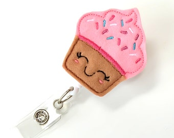 Kawaii Cute Cupcake - Felt Badge Reel - Cute Badge Clip - Retractable ID Badge Holder - Feltie Badge Pull - Nurse Badge Holder - BadgeBlooms