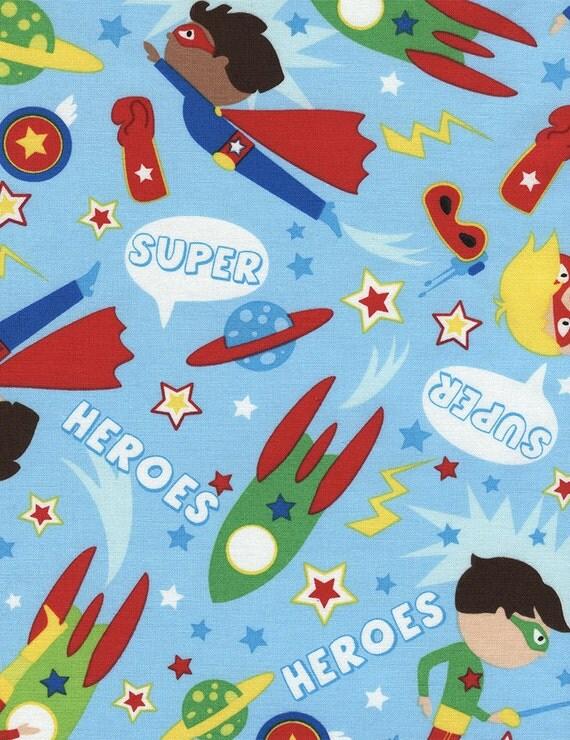 Super hero boys 1 yard cut tt fabrics cotton fabric for Boys cotton fabric