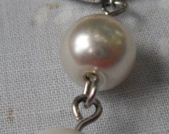 Necklace Silver Teapot with Vintage String of Pearls and Mother of Pearl Dainty SIlver Chain Custom