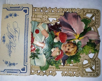 "Victorian 3D ""Brandage Girl""  Valentine Card ...Antique 1920's"