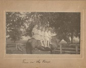 Fun on the Farm - Antique 1910s Silver Gelatin Albumen Print Cabinet Portrait, Children on Horse