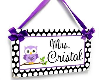 purple owl custom teacher name classroom door signs- purple and white polka dots - kindergarten class wall plaque - P329